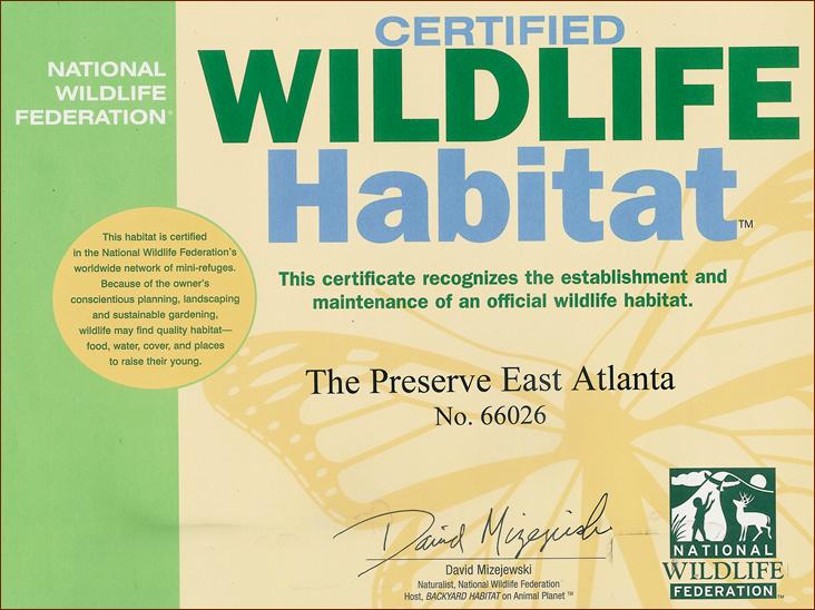 National Wildlife Federation Certificate-The Preserve East Atlanta