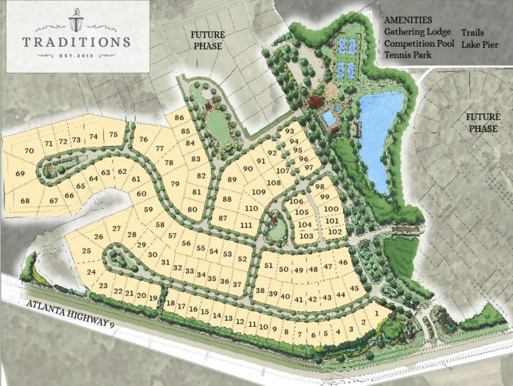 Site Plan For Traditions In Cumming GA