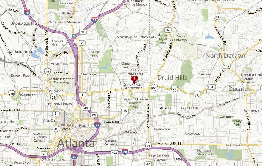 Virginia Highland Map Location Drewry Street